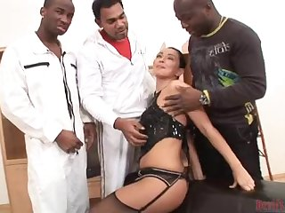 Sexy brunette gets banged by a black gang