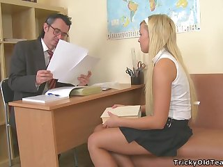 Beautiful Blonde School Girl Drains Her Teacher From all Body Fluids