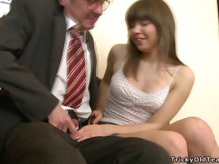 Kinky Teen Sucking and Fucking an Old Cock to Succeed