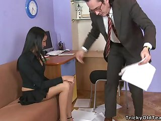 Sensual Brunette Teen Keen to Fuck Her Teacher in his Office