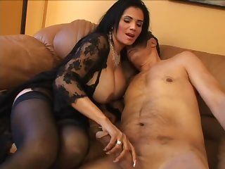Voluptuous milf in lingerie vigorously fucked