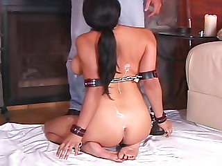 Blindfolded and bound girl with big tits