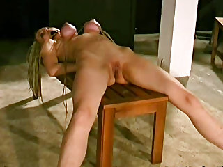 Big tits girl is lovely in bondage
