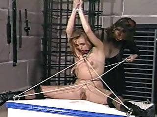 Mistress uses rope to torture sub