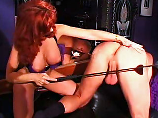 Big ass dominatrix abuses submissive guy