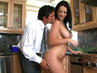 Jayden Jaymes fucks in the kitchen on the table