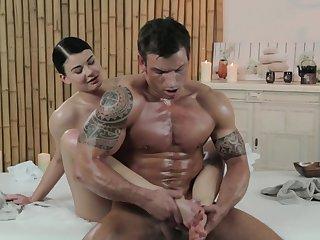 Slender masseuse and muscular fucker