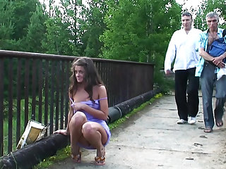 Public teen tits flash on a path