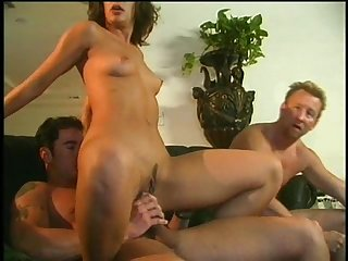 Two rock-solid dicks and a passionate brunette who wants them now!