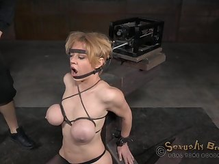 Big tits bondage doll getting punished with deaphroat smashing in BDSM