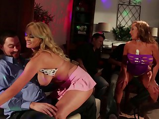 Horny guys watch as Richelle and Romi pleasure their wet beavers