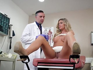 Jessa Rhodes enjoys sex with the doctor after a series of naughty teasers, asking for more sex and cum on face in the end of this mind blowing porn play