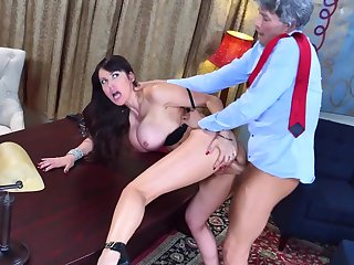 Brunette milf, with jaw dropping tits and big booty, Eva Karera, fucked by the president and made to swallow his official spunk