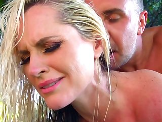 Naked mom, Alena Croft, welcomes step son for a few rounds of sex with her creamy pussy, all in a sunny outdoor porn scene to delight the man