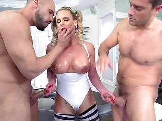 Work out goes extremely nasty for Phoenix Marie as she gets to fuck with two horny males in a complete anal threesome porn session at the gym