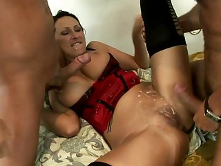 Horny mom spreads legs for two younger stallions in need to fuck her hard and cause her great pleasures in threesome