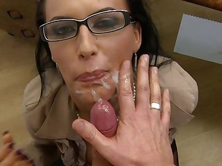 Brunette milf with gorgeous face licked, fucked and facialized in the super exciting HD video.