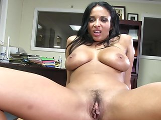 Alluring dark-haired chick with shaved pussy Anissa is getting pounded in her wide-opened mouth with force