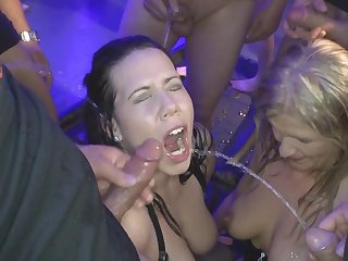Perverted bukkake with hardcore babes that are swallowing perfect mix of sperm and piss
