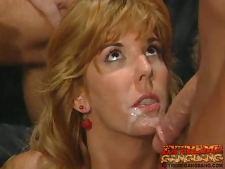 Anal sex and DP for a slutty blonde that is participating this insane gangbang in retro clip