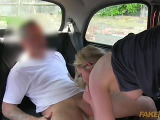 Such a hot blonde milf is sucking driver's dick and getting cum load over her natural tits