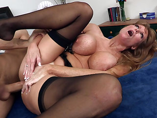 Slutty beauty with cute stockings is Darla Krane, she craves to be drilled in anal by James Deen
