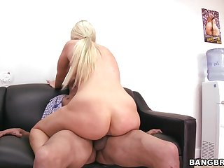 Sensual lady with pretty face Jaime Appelgate is making hot blowjob on the camera