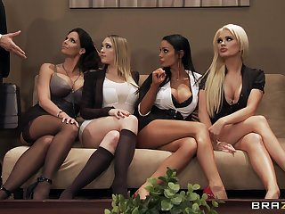 Alluring glamour babes Alexis Ford,Angelina Valentine,Kagney Linn Karter and Phoenix Marie is fucking with Keiran Lee