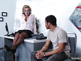 They flirt a bit and then it's time for hardcore fucking with this dirty office slut and her big tits.