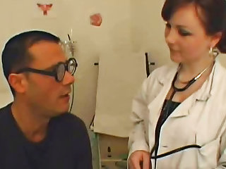 Curvy nurse fucks with her patient, who is not so seack. She sucks his cock and he licks her pussy.