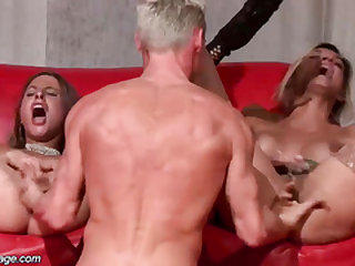 threesome porn orgy on public stage