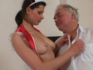 Long haired babe Iveta C playing doctor and having her shaved pussy nicely banged in a hospital uniform.