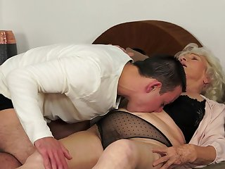 Young dude with nice dick is fucking with old woman Norma and cumming all over her face