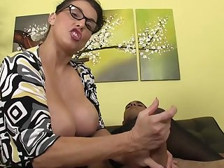 Nothing stops busty Stacie Starr from smashing this large dick between her hands in naughty handjob experience