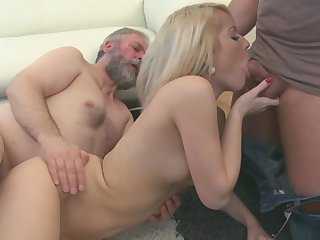 Cute bearded grandpa is penetrating young blonde Nona in her shaved pussy and cumming on her boobies