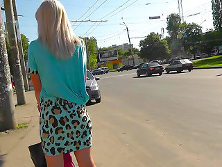 Get a load of this voyeur video in which this babe's panties are caught while she's walking.