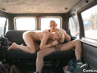 Cum-swallowing slim blonde with shaved pussy being fucked in her tight moist hole