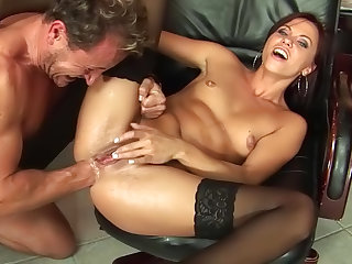 Blowjob-loving babe Alysa is sucking tasty stick of her boss and riding on cock right in the office
