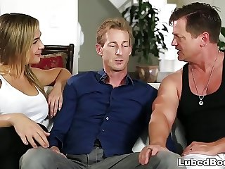 Wife joins to her husband and his masseuse