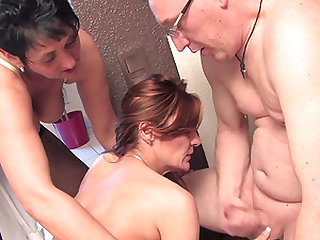 Horny mature women enjoy a lucky man's pulsating prick