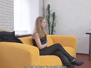 Sofa fucking is what hot blonde Colette D needs right now