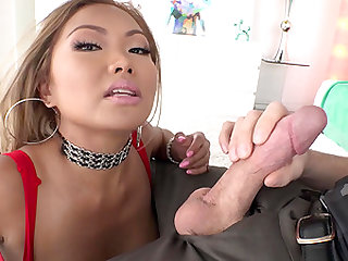 Getting messy and choking on a cock is what Lana Croft lives for