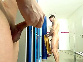 Locker room sex session with a couple of cock craving men