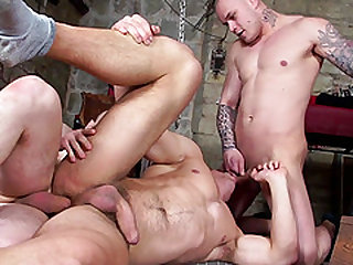 Two handsome men want to penetrate a tied up hunk's butt