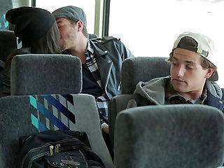 Couple fucks hard on a bus filled with curious viewers