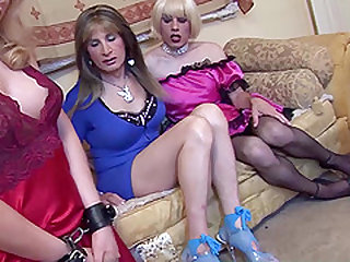 Big dick shemales with big tits fucking hard in group sex
