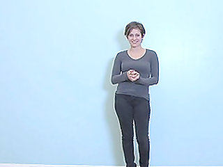 Short hair Vanessa stripteasing showcasing her curves