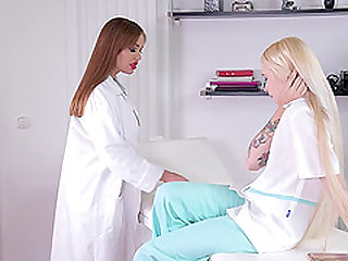 Hardcore lesbian game for a couple of nasty nurses