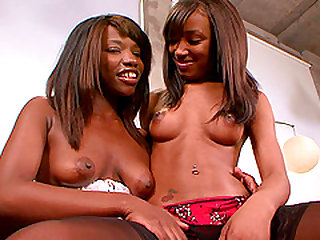 Ebony babes Cocoa Dickens and Alize are two desirous lesbians