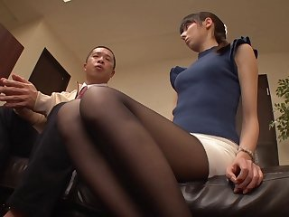 Her boss rips her pantyhose open and fucks her pussy in the office